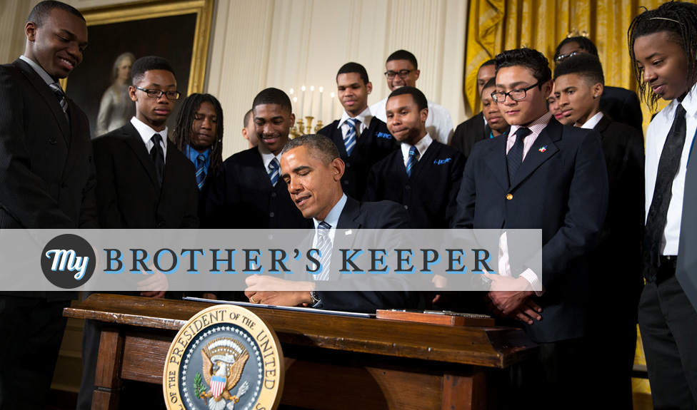 President Obama signing, launching the My Brother's Keeper initiative